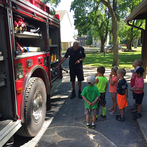 Whitpain Township Park-n-Tots Campers Fire Prevention and truck display