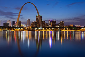 City of St. Louis skyline. Image of St. Louis downtown with Gateway Arch at twilight..jpg