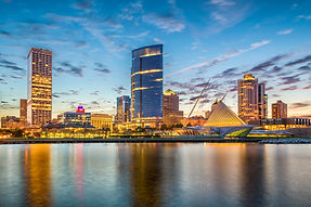 Milwaukee, Wisconsin, USA downtown city skyline on Lake Michigan at twilight..jpg
