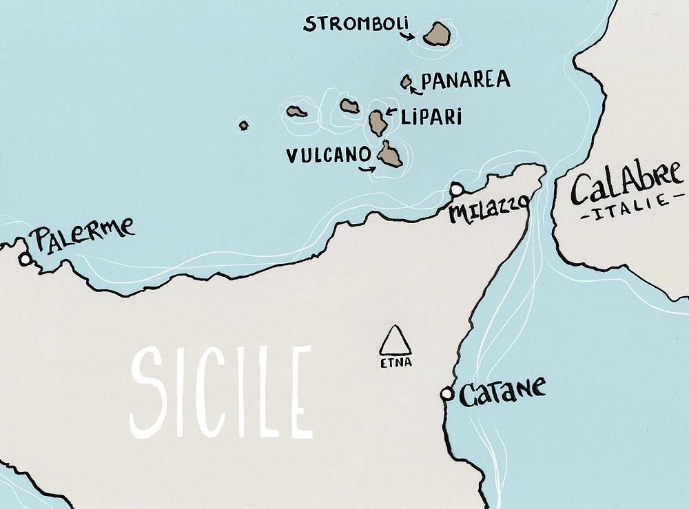 Aeolian Islands Map Blog Marcellooo Sicily Italy Drawing Jdan