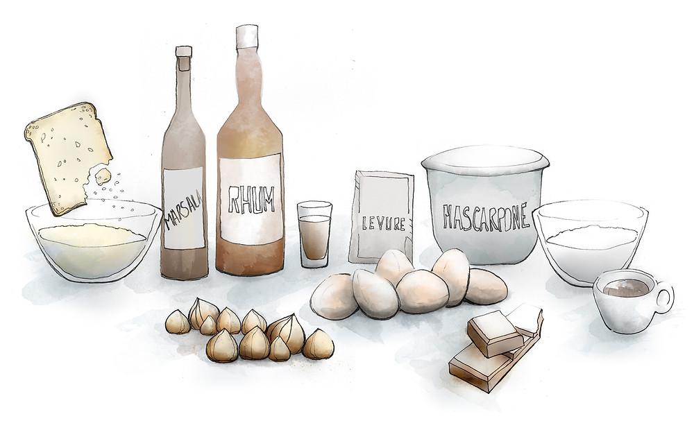 Blog Viaggi Marcellooo.fr Delizioso Ricetta Torta Nocciole Disegno Illustrazione Jdan