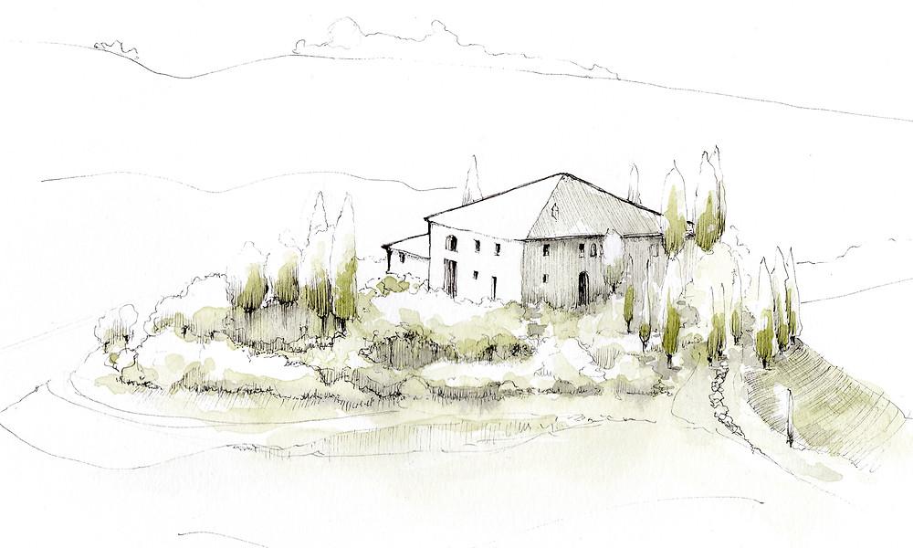 Blog Viaggi Italia Marcellooo.fr Toscana Illustrazione Jdan Villa Cipressi Val d'Orcia