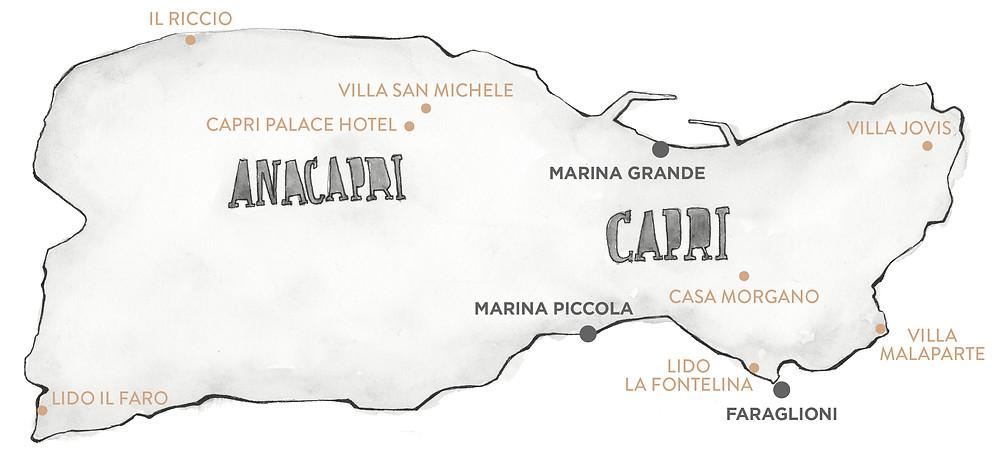 Blog viaggi Italia marcellooo.fr Capri itinerario indirizzi alberghi ristoranti mappa