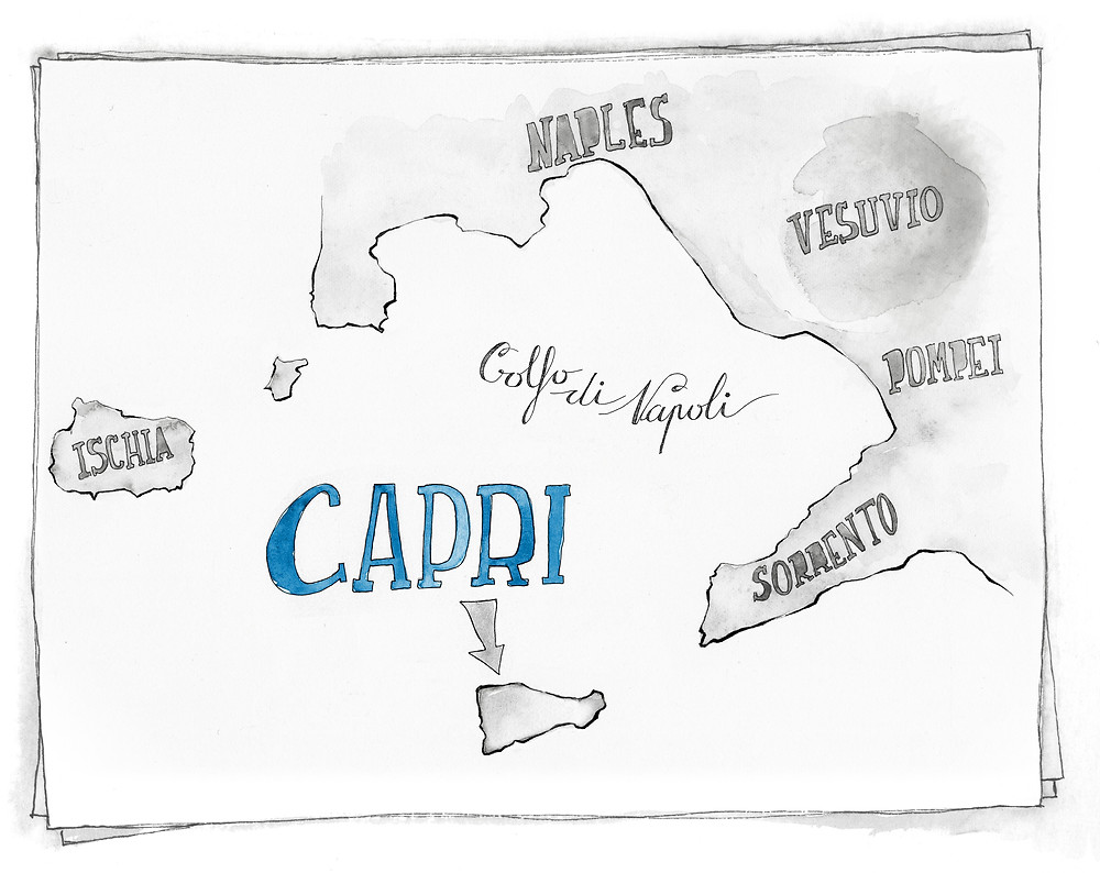 Blog viaggi Italia marcellooo.fr Capri itinerario mappa illustrazione jdan