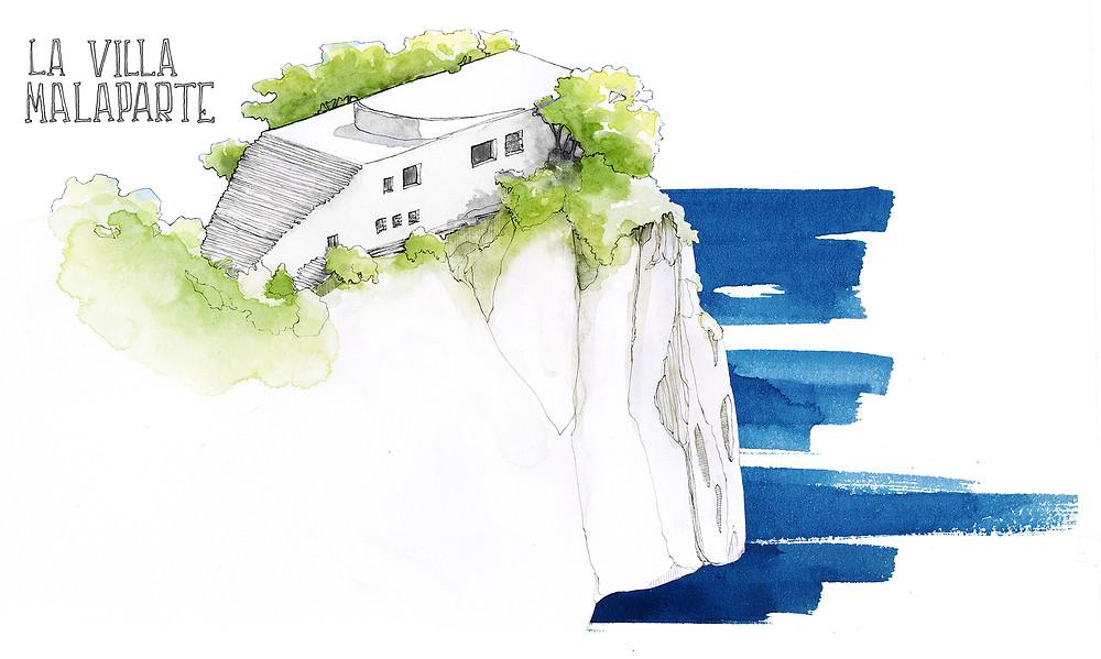 Blog Viaggi Italia Marcellooo.fr Capri Villa Malaparte Illustrazione Jdan