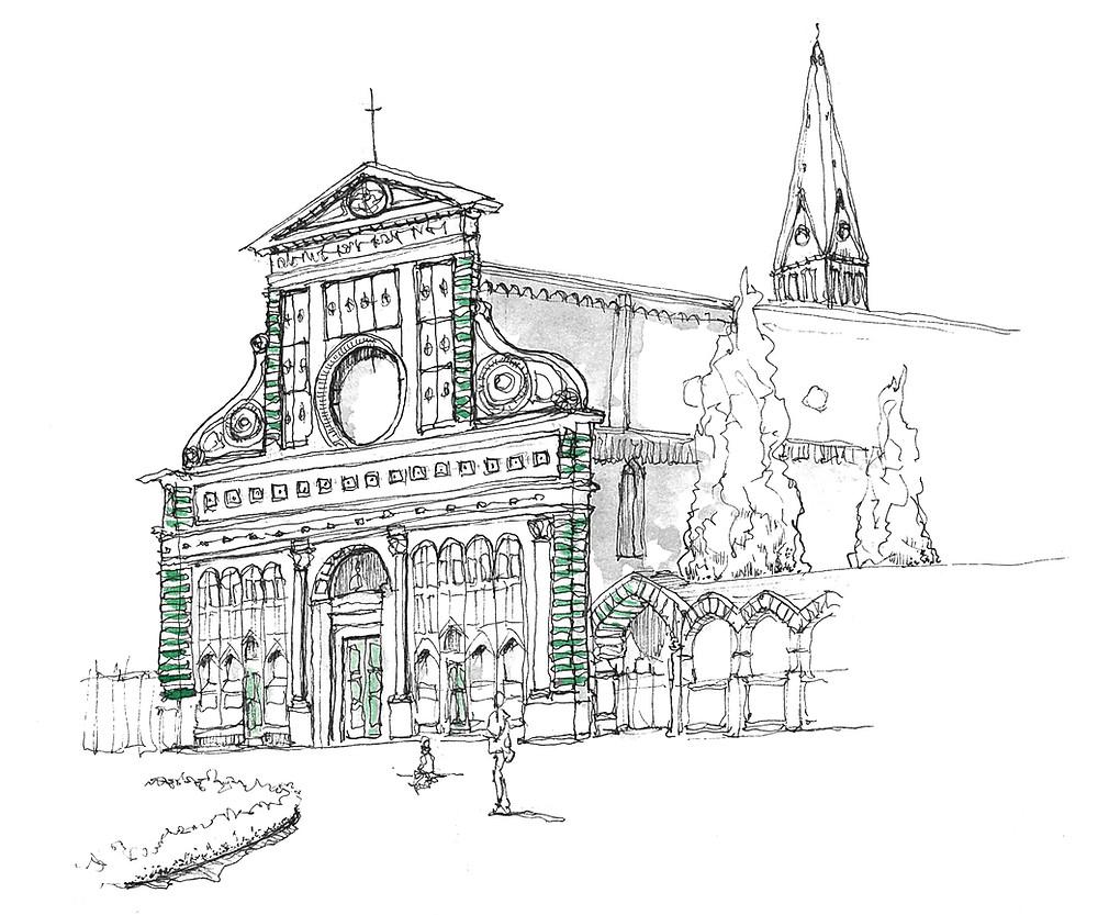 Blog Viaggi Italia Marcellooo.fr Toscana Firenze Illustrazione Jdan Santa Maria Novella
