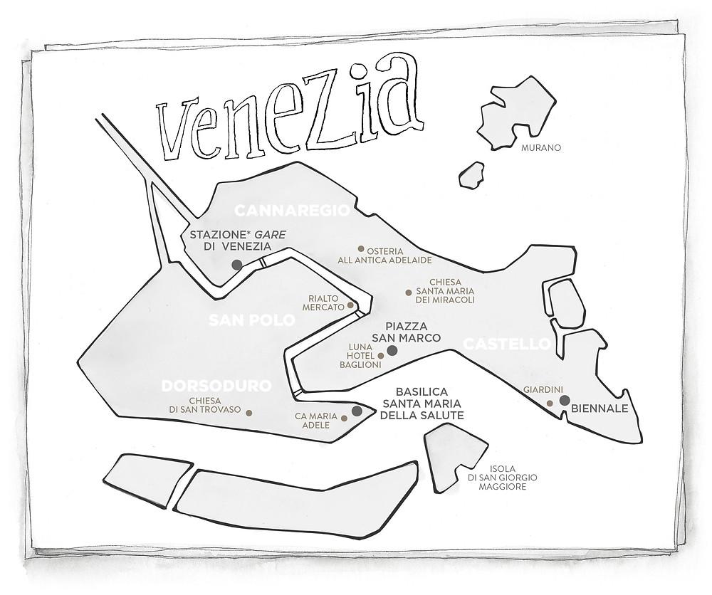 Blog Viaggi Italia Marcellooo.fr Venezia mappa illustrazione Jdan itinerario consigli indirizzi