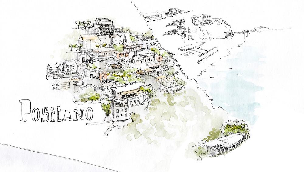 Blog Viaggi Italia marcellooo.fr Positano Costiera Amalfitana Illustrazione Jdan