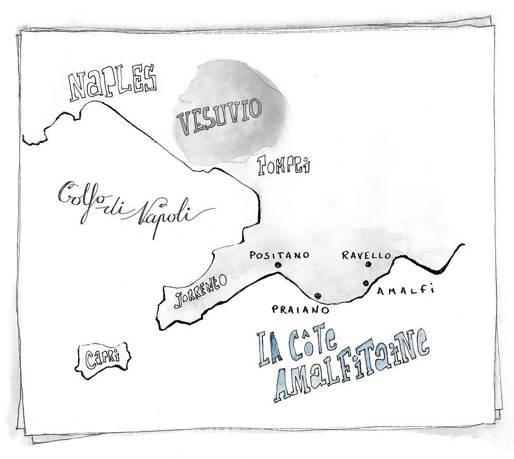 Blog Voyage Italie Marcellooo.fr Costiera Amalfitana itinerari mappa jdan