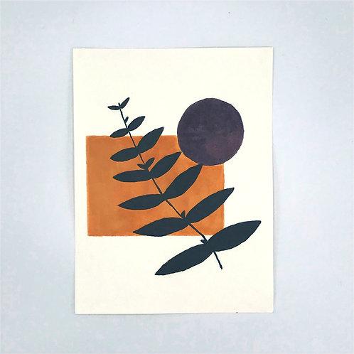 Minimal Plant Painting - orange square