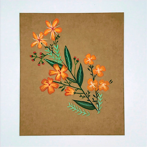 Orange Flower Garland Painting