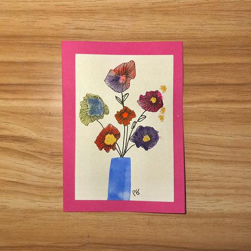 Floral card- Blue pot