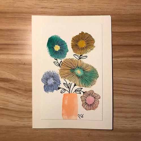 Floral card- Orange pot