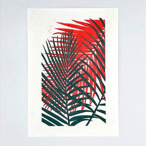 Palm Leaf Lino Print - Green and Red