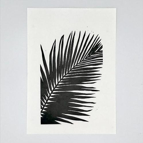 Single Palm Leaf Lino Print - Black