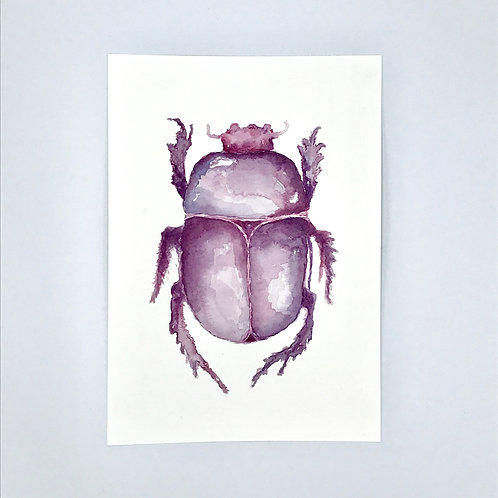 Purple Beetle Watercolour