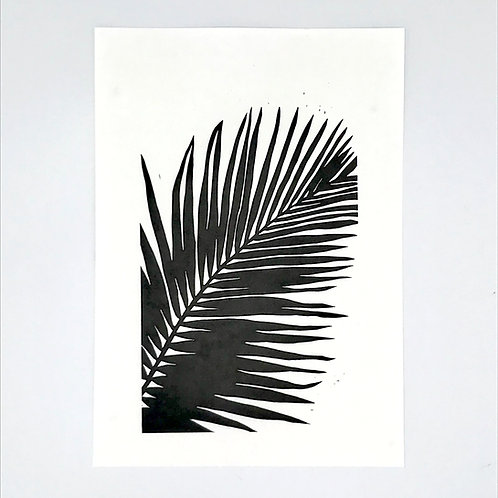 Single Palm Leaf Lino Print - Black