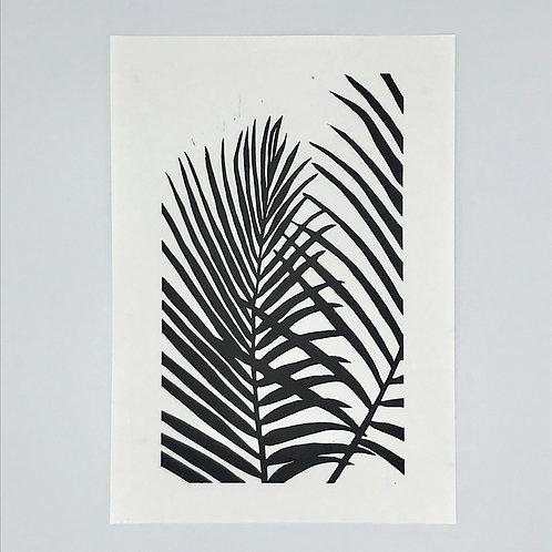 Double Palm Leaf Lino Print - Black
