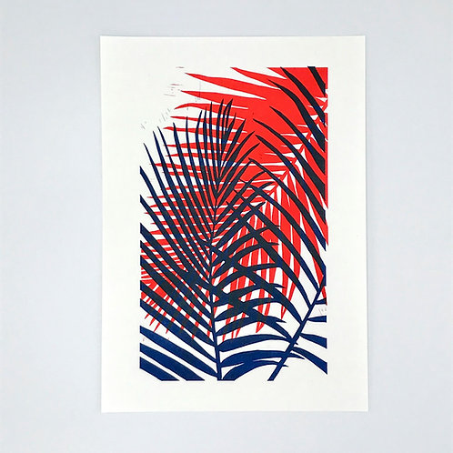 Palm Leaf Lino Print - Blue and Red
