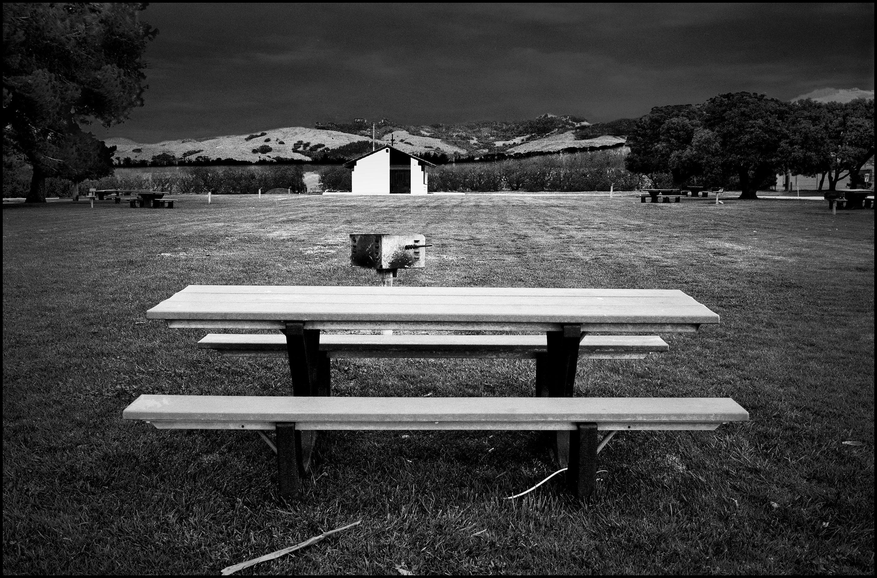 picnic table, San Simeon, California