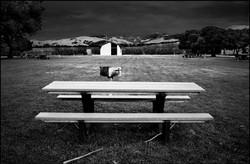 picnic table, San Simeon, California