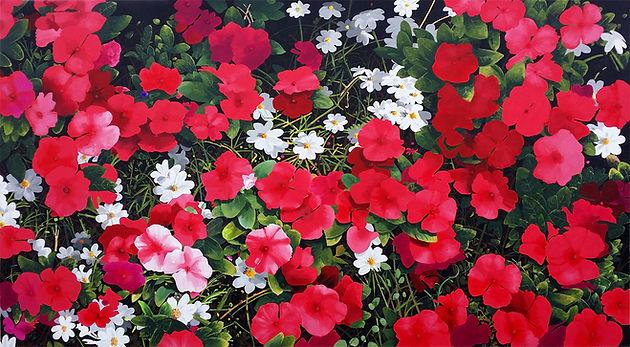 Red Vilot Vinca a painting by John Weidenhamer