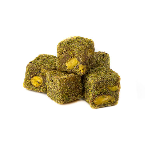 Double roasted Lokum with pistachio, covered with pistachio powder (5pcs)