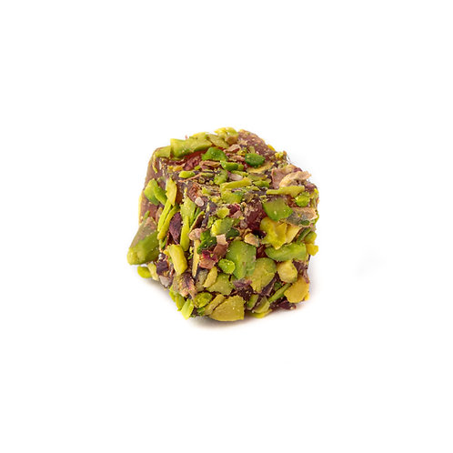 Lokum, pomegranate flavoured, covered with sliced pistachio (1pc)