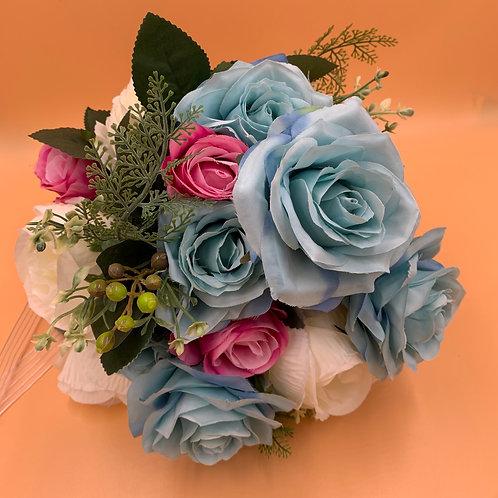 Bridal Bouquet - Blue, White, Pink