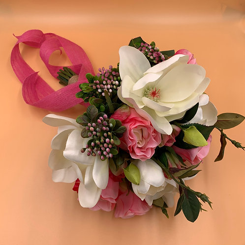 Bridal Bouquet - White Orchid & Pink Rose