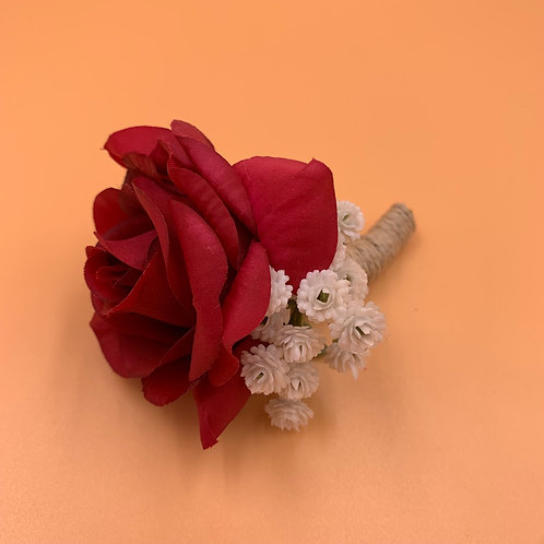 Groom Boutonniere - Red Wine