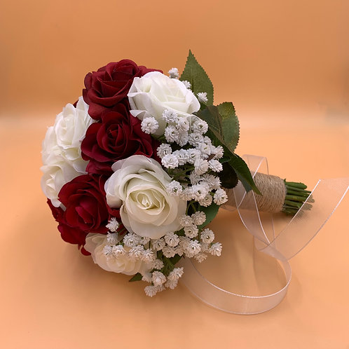 Bridal Bouquet - Red Wine & White