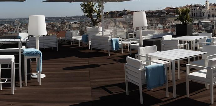 Hotel Terrace in tropical brown