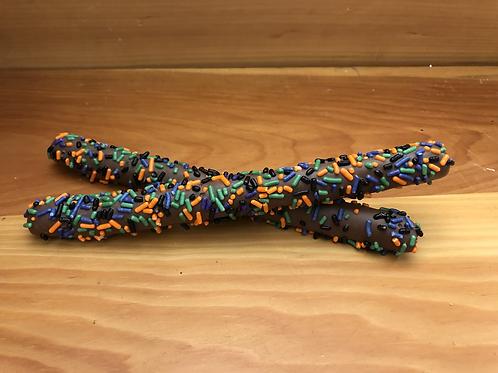 Halloween decorated pretzel rods