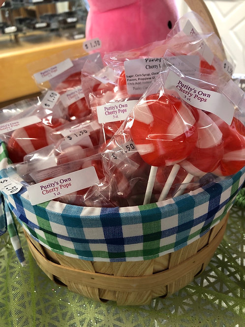 Purity's Own Cherry Lollipops