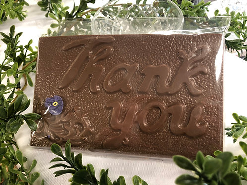 Thank You chocolate plaque