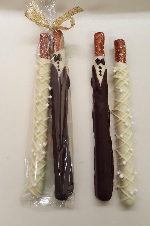 Bride and Groom pretzel rods