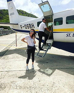 Landing in a small plane in St. Barths, French West Indies