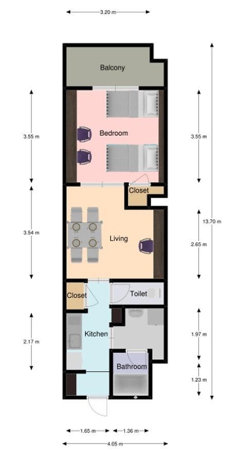 A-style Futenma 普天間 マンスリーマンション ウィークリーマンション ホテル 宿泊 1泊 長期滞在 単身赴任 出張 宜野湾市普天間2-36-13 B号室 図面
