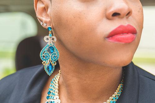 Portia Blue Crystal Earrings