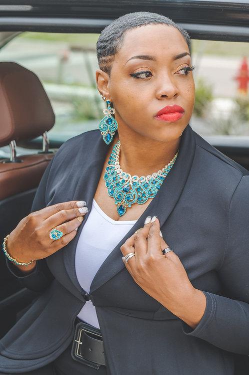 Portia Blue Crystal Necklace
