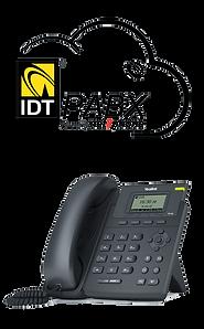 Logotipo IDT telecom dentro de uma ilustração de nuvem em cima de um telefone de mesa