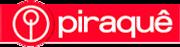 Logotipo da piraquê, letras brancas em um fndo vermelho e logomarca da empresa