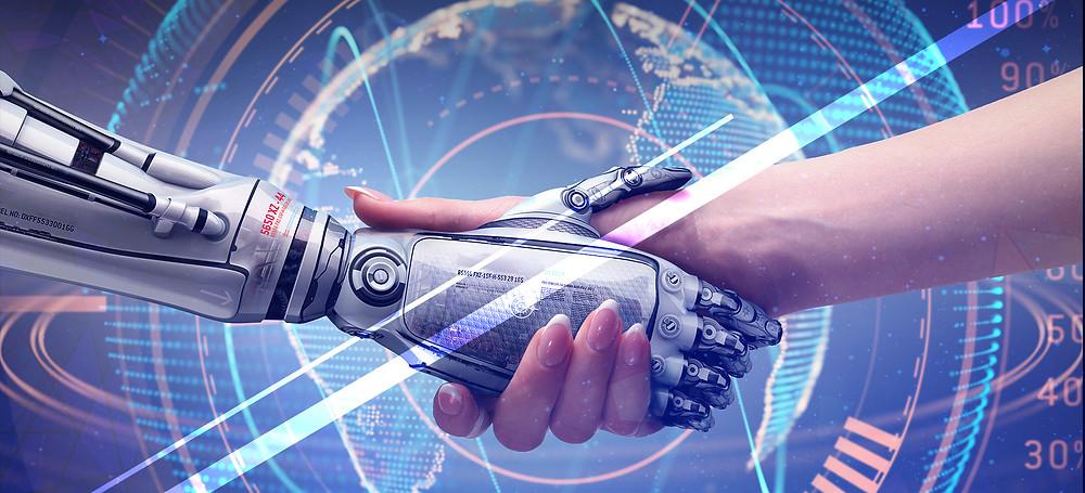 máquina e ser humano apertando as mãos