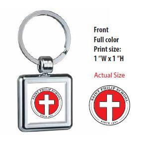 Saint Philip Square Chrome Plated Key Chain