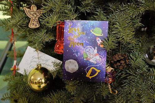 """""""Love you to the Moon"""" Christmas postcard"""