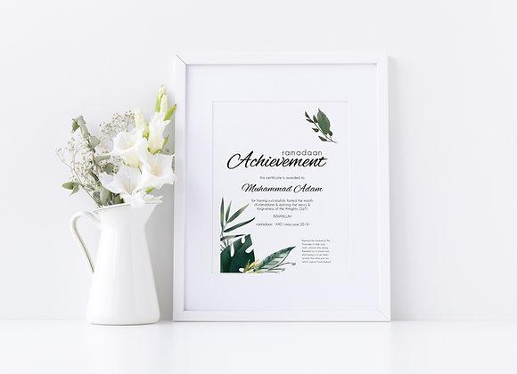 Ramadaan Achievement Certificate