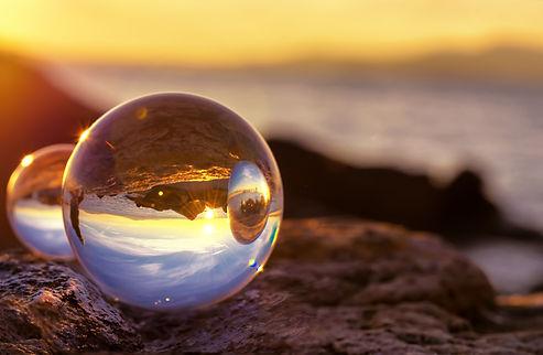 Crystal Ball Reflection on the seashore