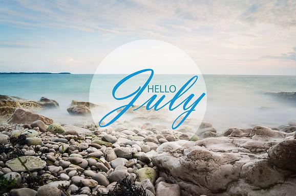 Hello July wallpaper, summer on beach.  text with beach background.jpg