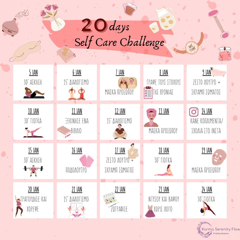 20 days self care challenge